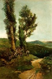 paisaje con campesino by tomas campuzano y aguirre