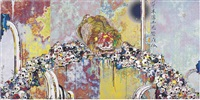 of chinese lions, peonies, skulls and fountains by takashi murakami