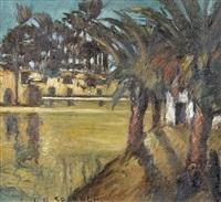niluferpartie mit palmen und hütten by georges hanna sabbagh