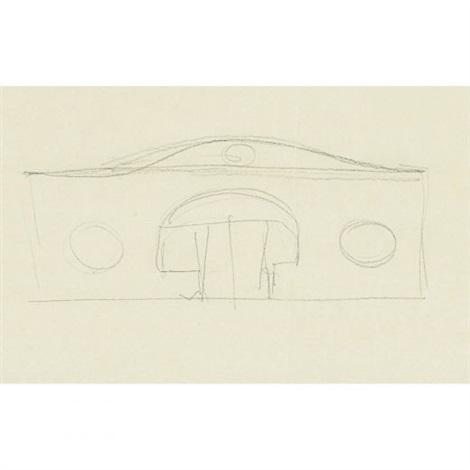 sketch of house for david whitney scheme b by philip cortelyou johnson
