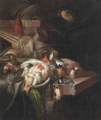 a partridge, bullfinches and other birds, with hunting paraphernalia, on a partially draped stone ledge by william gowe ferguson