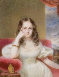 bildnis eines mädchens in weißem kleid, auf einem roten polstermöbel sitzend vor wolkenhintergrund by alois von anreiter