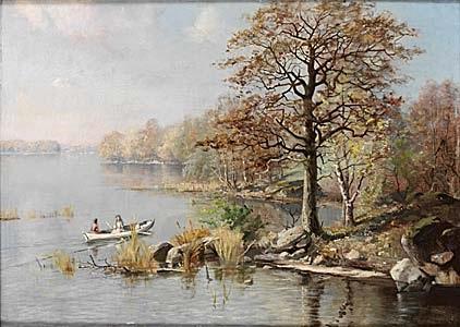 insjölandskap med flickor i båt by edouard alexandre alexis ankarcrona
