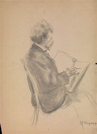 portrait of ilya repin by boris mikhailovich kustodiev