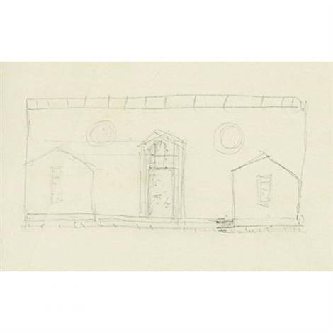 sketch of house for david whitney - scheme b by philip cortelyou johnson