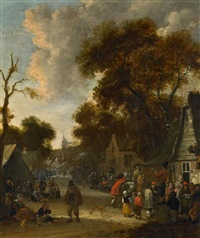 bauernmarkt in einem holländischen dorf by salomon rombouts