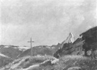 walliser gebirgslandschaft mit matterhorn by henri du voisin