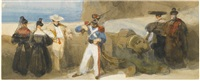 spanish figures on a terrace beside a gun emplacement by david roberts