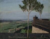 blick von einer terrasse auf eine weite landschaft by ernst liebermann