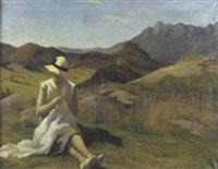 signora che cuce nel paesaggio by alcide davide campestrini