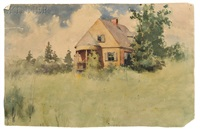 three works: house in a field, skyline with spruces, and woodlands by frank weston benson