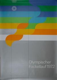 plakat 'olympia-fackellauf' für die olympiade münchen 1972 by otl aicher