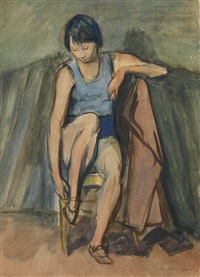 girl sitting on a chair by meier akselrod