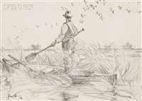 duck hunter watching a flock in flight by frank weston benson