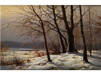 winterliche waldlandschaft mit jungen bäumen am waldrand by carl kenzler