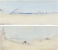 in the desert (+ the pyramids; pair) by alaloui hassan