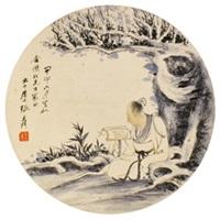 人物圆光 镜片 设色纸本 by zhang daqian
