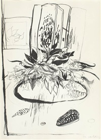 flowers on the table by brett whiteley
