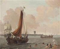 a boeier yacht, with figures swimming near a pontoon, a man-o-war beyond by abraham jansz storck