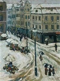 winterlicher markttag auf der bilker straße in düsseldorf by ferdinand carl cürten