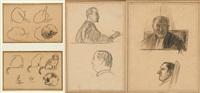 deux portraits de magistrats et deux études de chats (4 works) by henri evenepoel