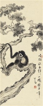 古柏山猿图 (monkeys on cypress tree) by pu ru