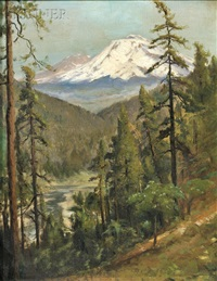 sacramento river canyon with mount shasta in the distance by william keith