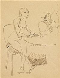 femmes assises à une table by jules pascin