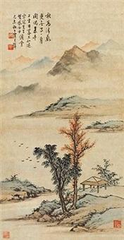 疏林山亭 by huang junbi
