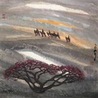 大漠夕阳 by zhou shaohua