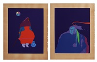 pueblo indian legacy and bull medicine #1 (2 works) by john nieto