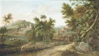 an italianate river landscape with classical figures, a fortified town beyond by gaspard dughet