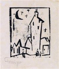 kirche mit hohem turm by lyonel feininger