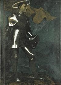 der talhüter ii (+ ritter und nymphe, 1911, drypoint w/tone, smllr; 2 works) by hans thoma