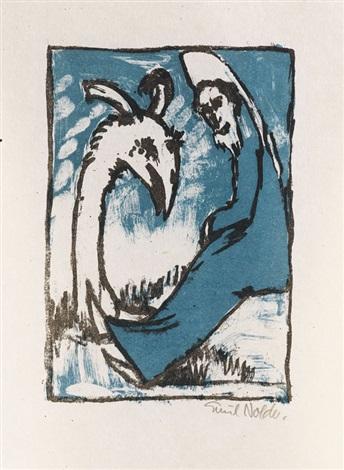 eremit und vogel by emil nolde