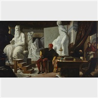 michaelangelo in his studio, visited by pope julius ii by alexandre cabanel