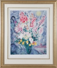 le bouquet illuminant le ciel by marc chagall