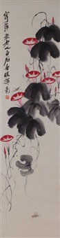 chinese ink/color scroll painting by qi baishi