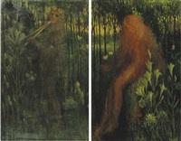 het geluid and de liefde (side panels of triptych) by henri van daalhoff