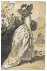 study of a lady, possibly for the richmond water-walk by thomas gainsborough
