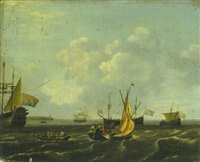 segelboote, ruderboot und niederländische dreimaster vor der küste by adam silo