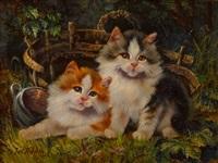 zwei kätzchen vor einem korb in der wiese by julius adam the younger