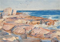 untitled - seagulls over a rocky beach by henry john simpkins
