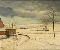 paysage enneigé en brabant by roger van den abbeele