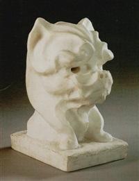 a bust of a terrier by eugène comte d' astanières