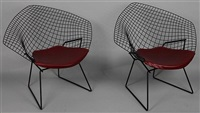 diamond lounge chairs for knoll associates (pair) by harry bertoia