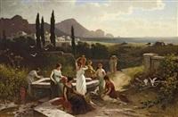 frauen am brunnen in italienischer landschaft by friedrich wilhelm albert dressler