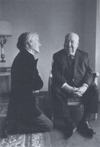 warhol kneeling at the feet of alfred hitchcock by jill krementz