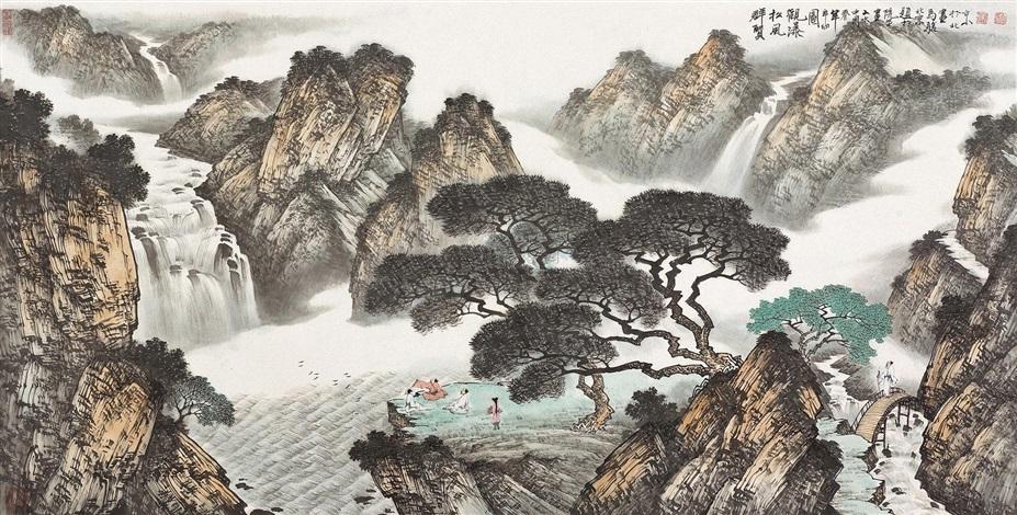 群贤松风观瀑图 landscape by ma jun