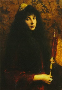 portrait of a young jewish boy robed in velvet, wearing a decorated yarmulke and jeweled ring, holding a scroll by cecil van haanen